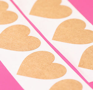 Brown Heart Stickers: 1.5"