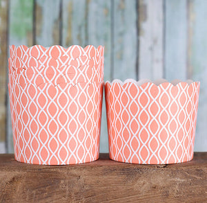 Large Coral Baking Cups | www.bakerspartyshop.com