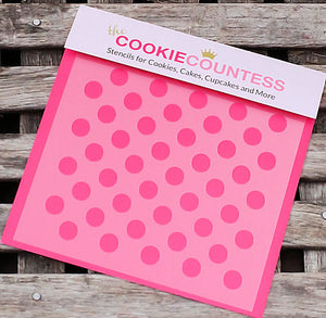 Medium Polka Dot Cookie Stencil | www.bakerspartyshop.com