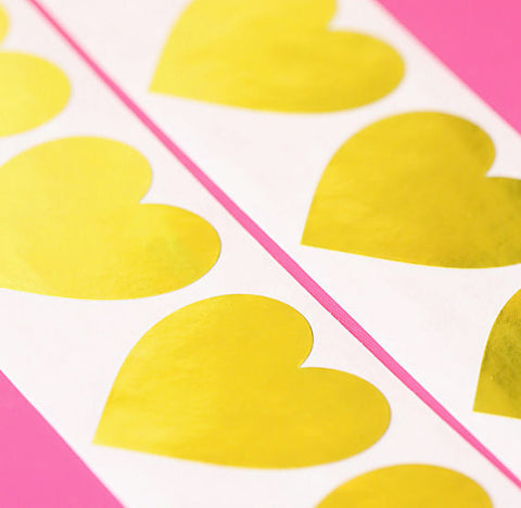 Gold Heart Stickers: 1.5"