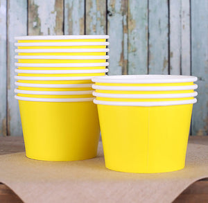 Large Yellow Ice Cream Cups: 8oz | www.bakerspartyshop.com