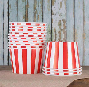 Large Red Ice Cream Cups: Stripe | www.bakerspartyshop.com