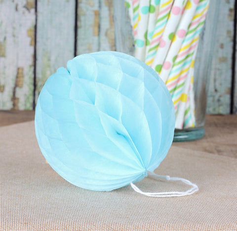 Light Blue Honeycomb Tissue Balls: 3"
