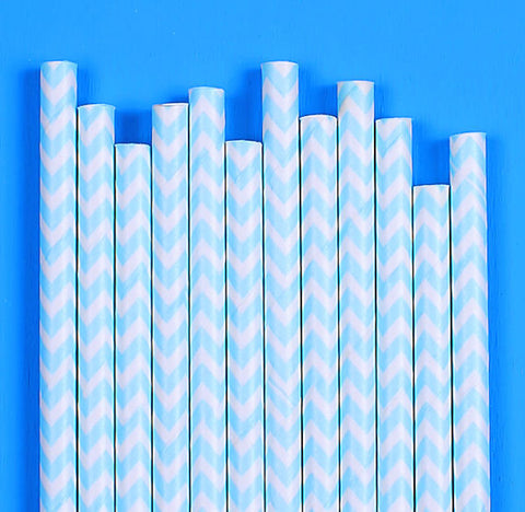 Light Blue Paper Straws: Chevron | www.bakerspartyshop.com