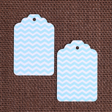 Light Blue Gift Tags: Chevron | www.bakerspartyshop.com
