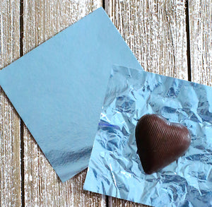 Light Blue Foil Candy Wrappers | www.bakerspartyshop.com