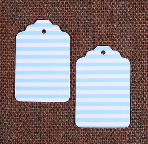 Light Blue Gift Tags: Stripe | www.bakerspartyshop.com