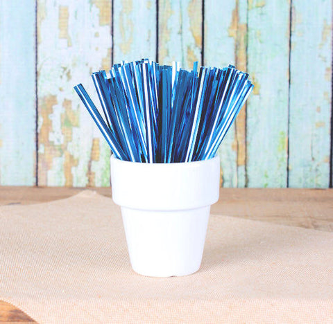 "Metallic Light Blue Twist Ties (4"") 