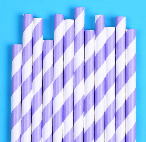 Light Purple Paper Straws: Stripe | www.bakerspartyshop.com