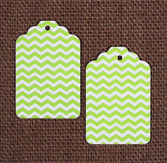 Lime Green Gift Tags: Chevron | www.bakerspartyshop.com