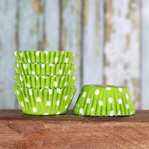 Bulk Mini Lime Cupcake Liners: Polka Dot | www.bakerspartyshop.com