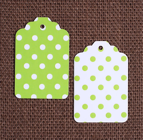 Lime Green Gift Tags: Polka Dot | www.bakerspartyshop.com