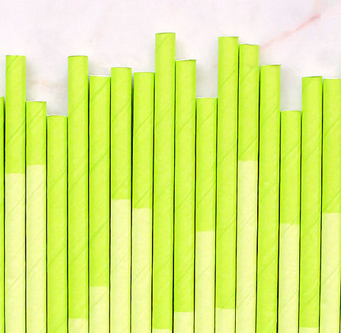 Lime Green Paper Straws: Two Tone | www.bakerspartyshop.com