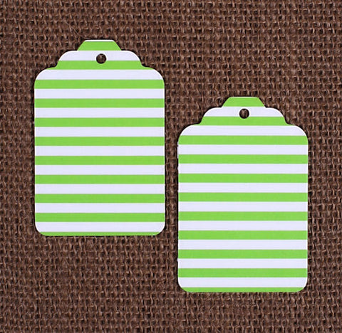 Lime Green Gift Tags: Stripe | www.bakerspartyshop.com