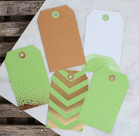 Lime Green Gift Tags: Assorted Prints | www.bakerspartyshop.com