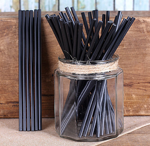 "Black Lollipop Sticks (6"") 