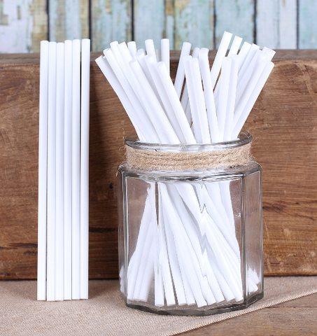 "White Lollipop Sticks (6"") 