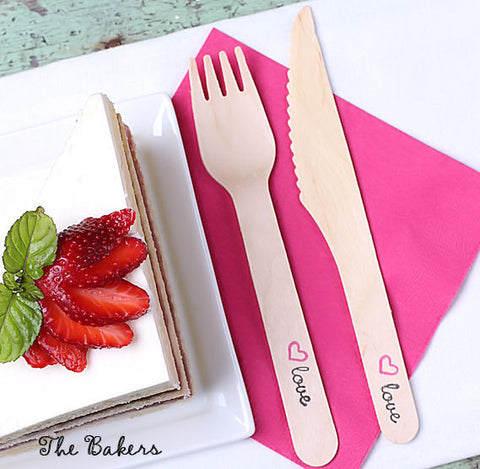 "Wedding ""love"" Wooden Utensil Set with Forks & Knives (Setting for 18) 