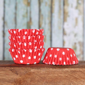 Mini Red Cupcake Liners: Polka Dot | www.bakerspartyshop.com