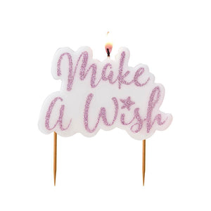 Make A Wish Pink Glitter Candle | www.bakerspartyshop.com