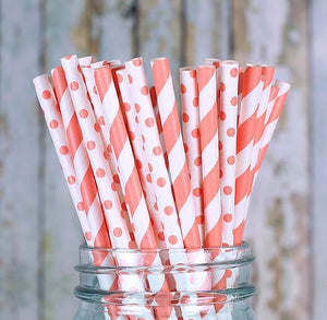 Melon Orange Paper Straws | www.bakerspartyshop.com