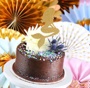 Gold Glitter Mermaid Cake Topper | www.bakerspartyshop.com