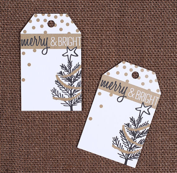 Quot Merry Amp Bright Quot Christmas Gift Tags Christmas Tree Gift