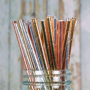 Silver & Gold Foil Paper Straws: Solid | www.bakerspartyshop.com