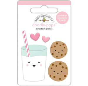 Large Milk and Cookies Stickers | www.bakerspartyshop.com