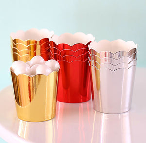 Mini Metallic Silver Baking Cups | www.bakerspartyshop.com