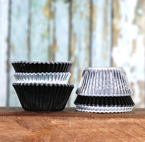 Mini Foil Black & Silver Cupcake Liners | www.bakerspartyshop.com