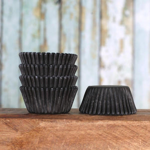 Mini Black Cupcake Liners: Solid | www.bakerspartyshop.com