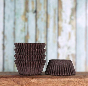 Bulk Mini Brown Cupcake Liners: Solid | www.bakerspartyshop.com