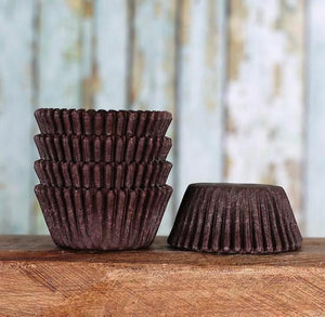 Mini Brown Cupcake Liners: Solid | www.bakerspartyshop.com
