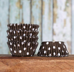 Mini Brown Cupcake Liners: Polka Dot | www.bakerspartyshop.com