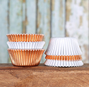 Mini Foil White & Copper Cupcake Liners | www.bakerspartyshop.com