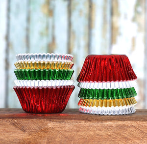 Mini Fancy Foil Christmas Cupcake Liners | www.bakerspartyshop.com