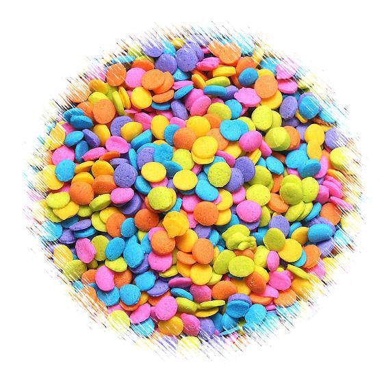 Mini Bright Rainbow Polka Dot Quin Sprinkles | www.bakerspartyshop.com