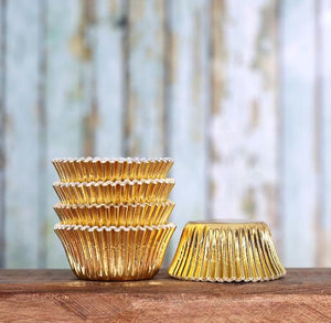 Bulk Mini Foil Cupcake Liners: Gold - 1,000 Count | www.bakerspartyshop.com