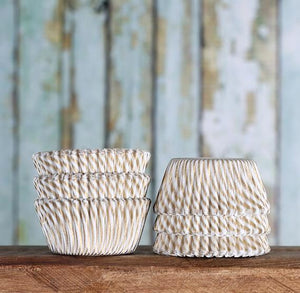 Bulk Mini Gold Cupcake Liners: Stripe | www.bakerspartyshop.com