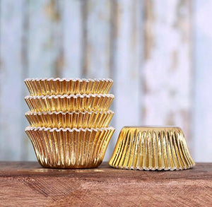 Mini Foil Gold Cupcake Liners | www.bakerspartyshop.com