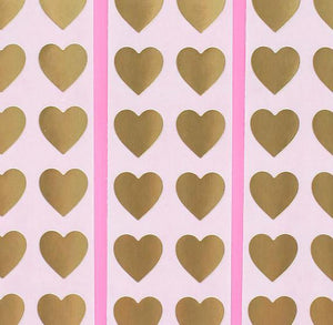 Gold Heart Stickers: .5"