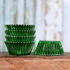 Mini Foil Green Cupcake Liners | www.bakerspartyshop.com