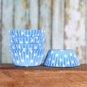 Mini Light Blue Cupcake Liners: Polka Dot | www.bakerspartyshop.com