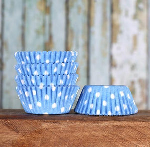 Bulk Mini Light Blue Cupcake Liners: Polka Dot | www.bakerspartyshop.com