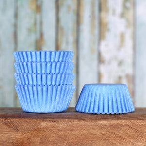 Bulk Mini Light Blue Cupcake Liners: Solid | www.bakerspartyshop.com