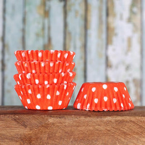 Bulk Mini Orange Cupcake Liners: Polka Dot | www.bakerspartyshop.com