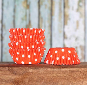 Mini Orange Cupcake Liners: Polka Dot | www.bakerspartyshop.com