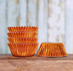 Mini Foil Orange Cupcake Liners | www.bakerspartyshop.com