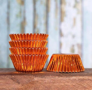 Bulk Mini Foil Cupcake Liners: Orange - 1,000 Count | www.bakerspartyshop.com